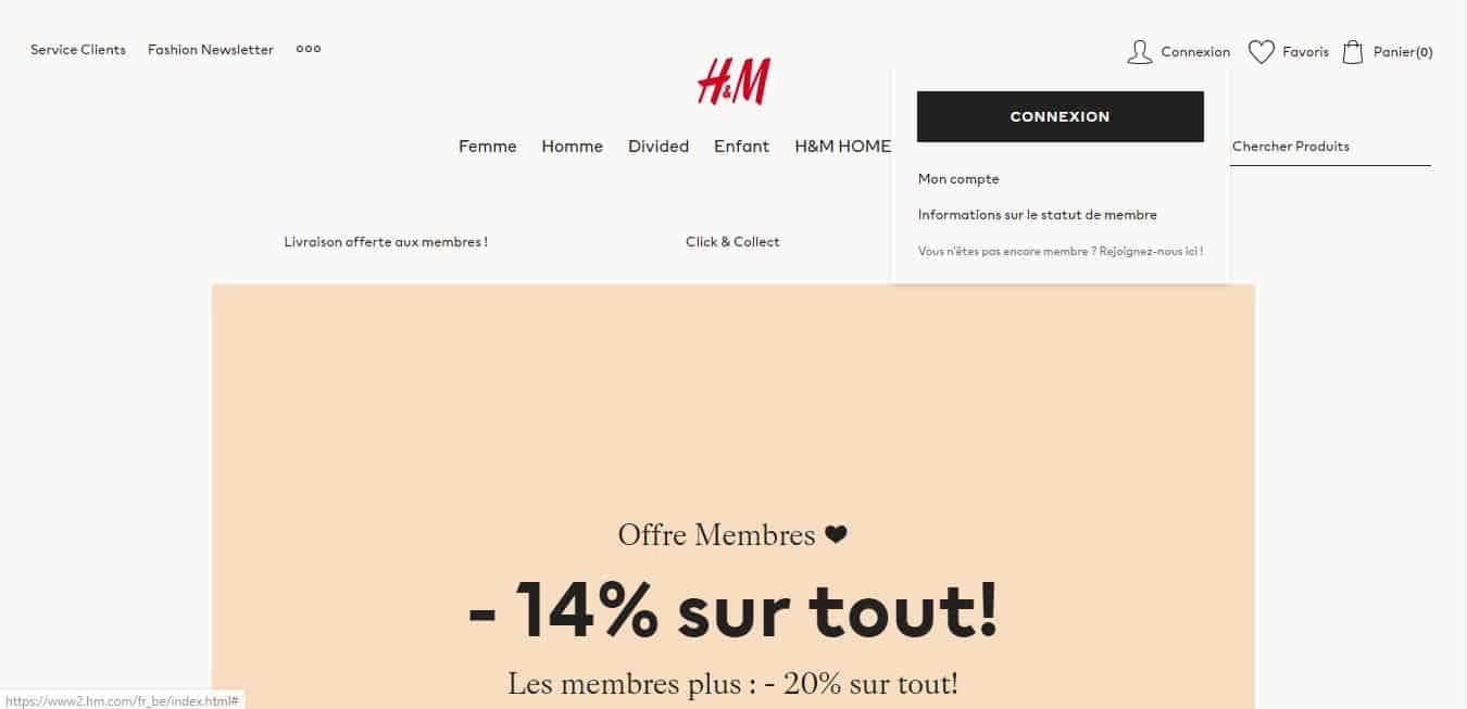 Page d'accueil H&M