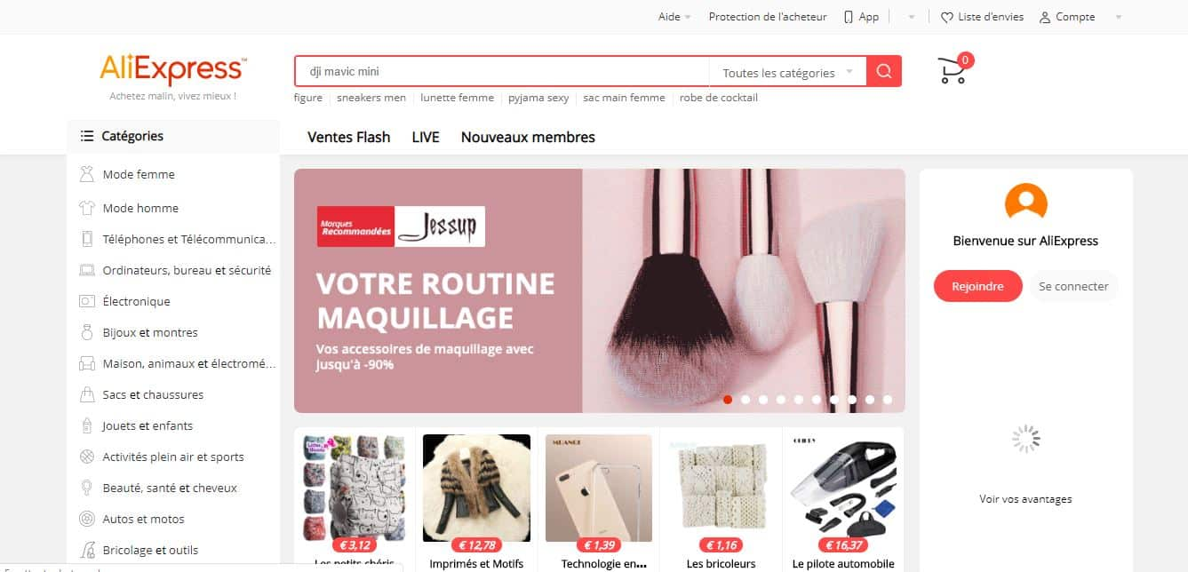 Page d'accueil aliexpress