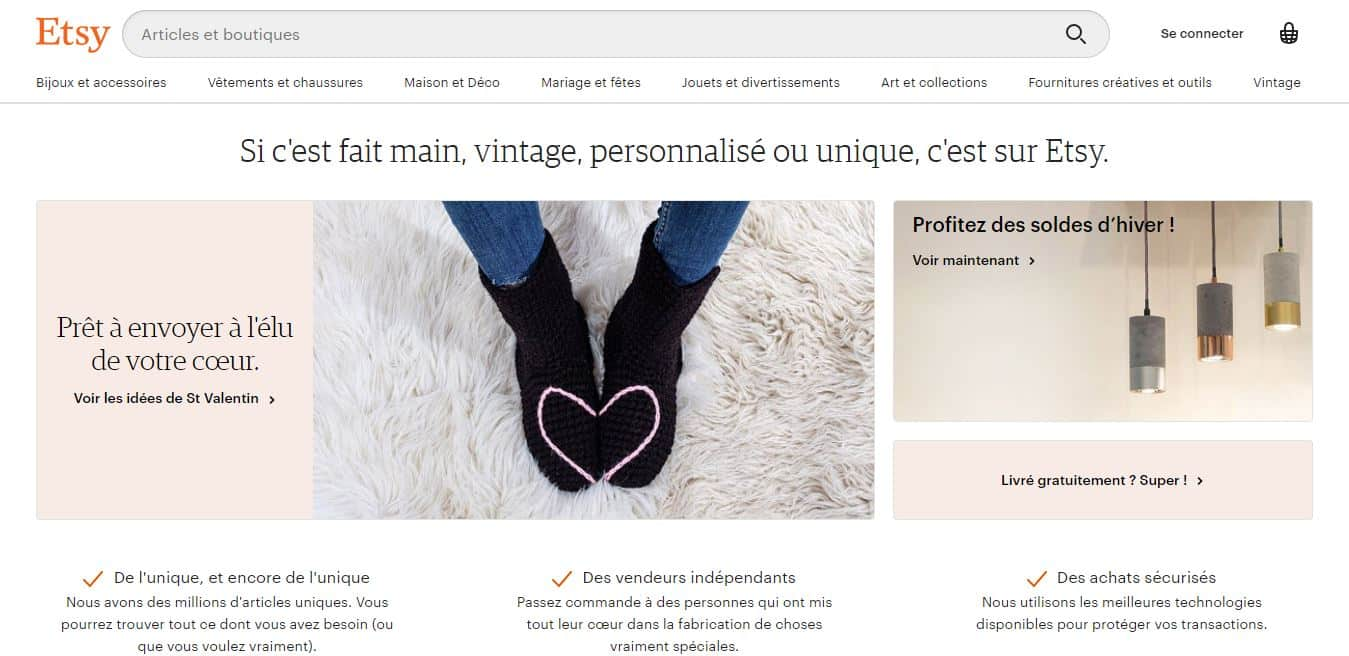 Page d'accueil etsy