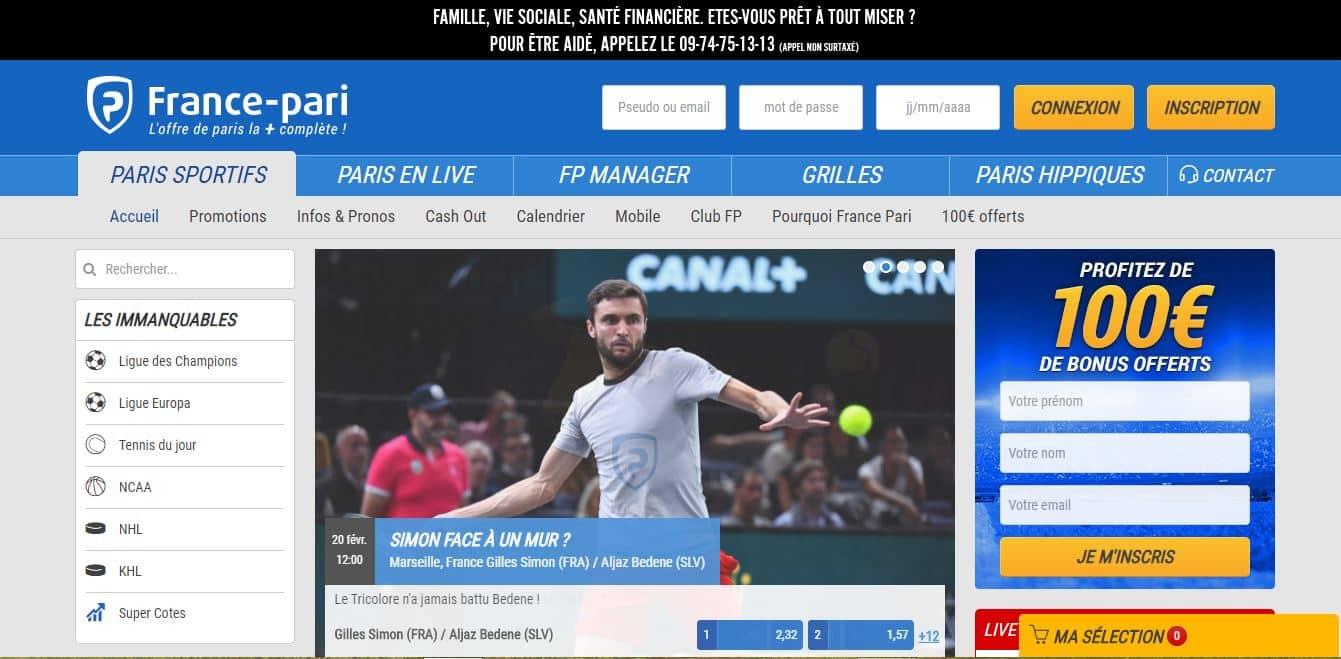 Page d'accueil France Pari