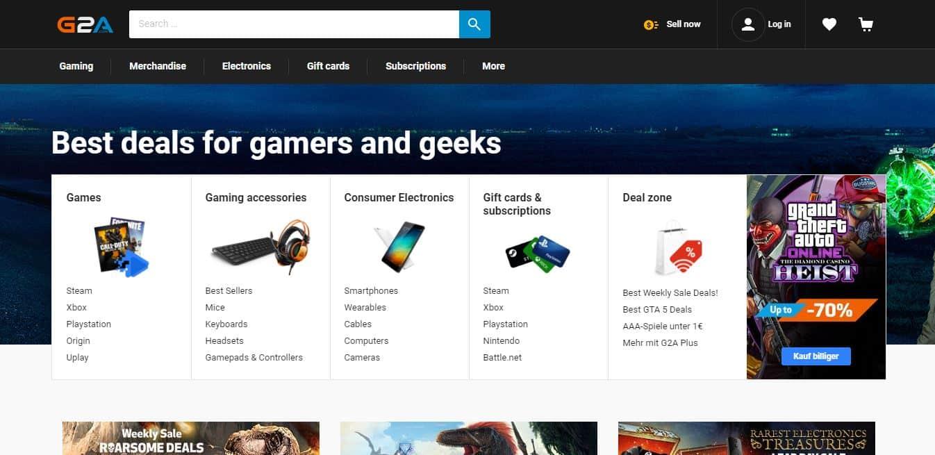 Page d'accueil G2A