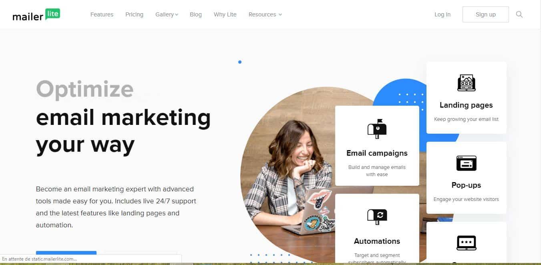 Page d'accueil Mailerlite