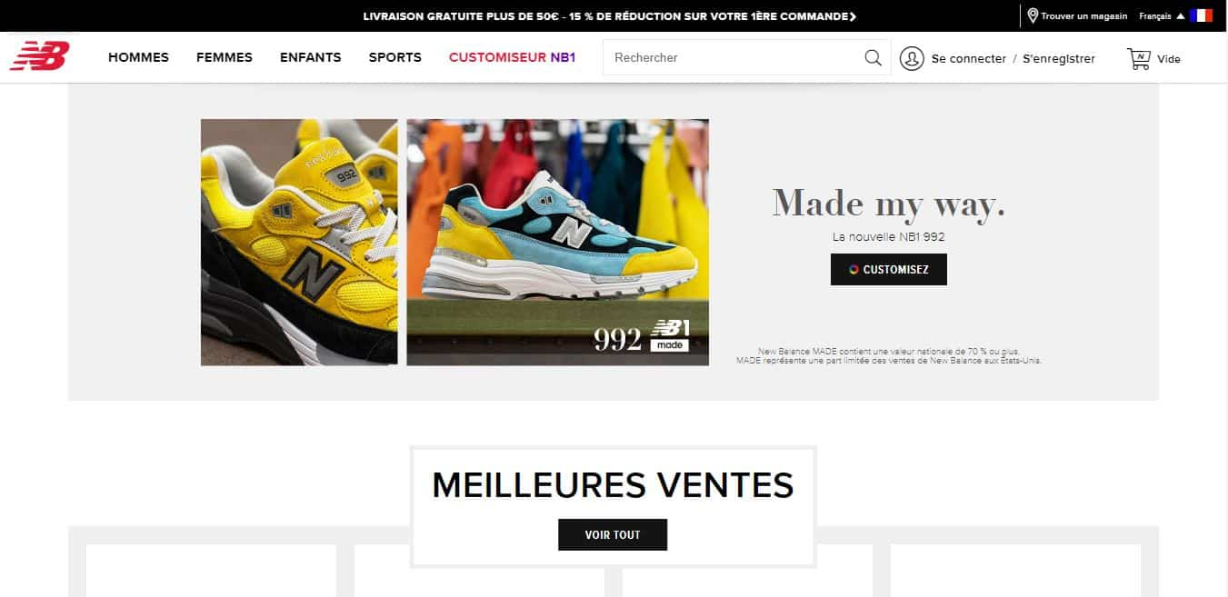 Page d'accueil New Balance