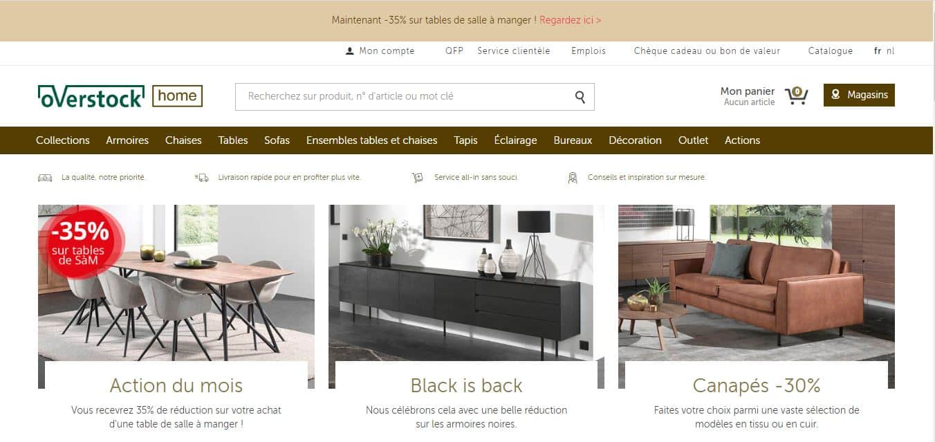 Page d'accueil Overstock