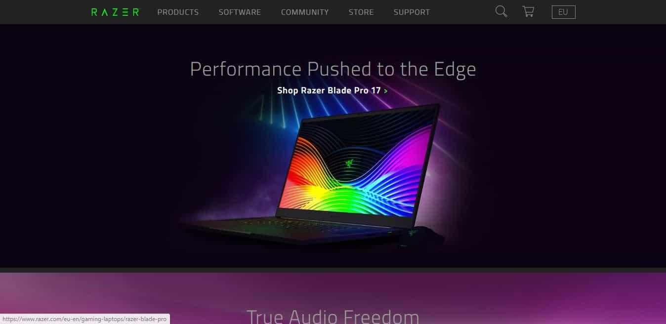 Page d'accueil Razer
