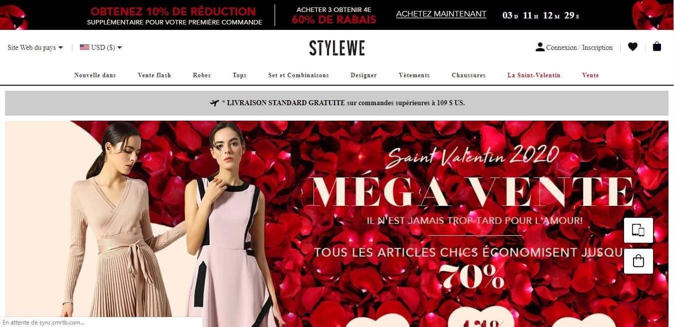 Page d'accueil StyleWe