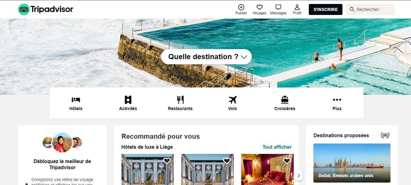 Page d'accueil TripAdvisor
