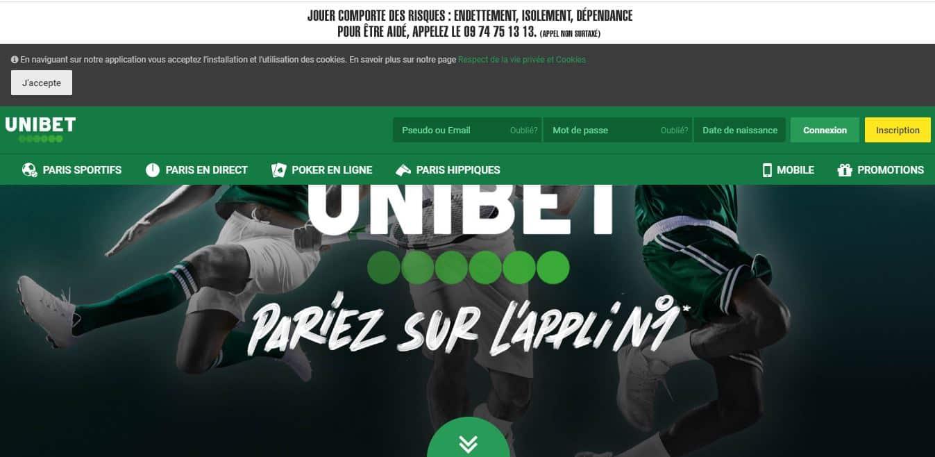 page d'accueil Unibet