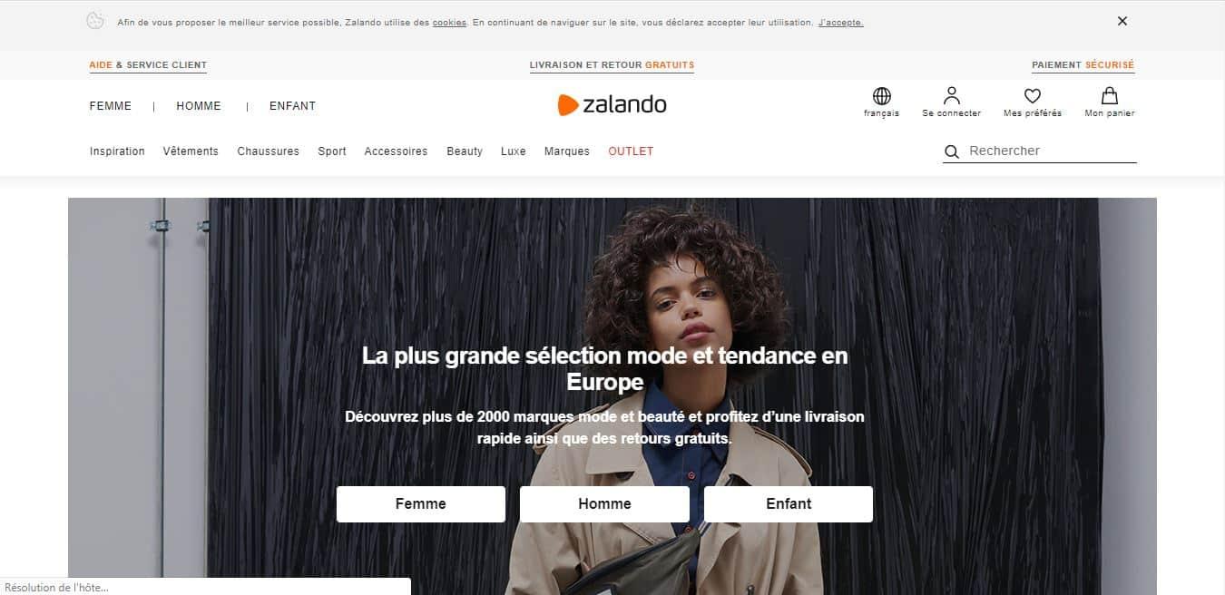 Page d'accueil Zalando