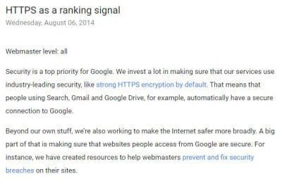 https devient un critère de référencement pour améliorer son seo