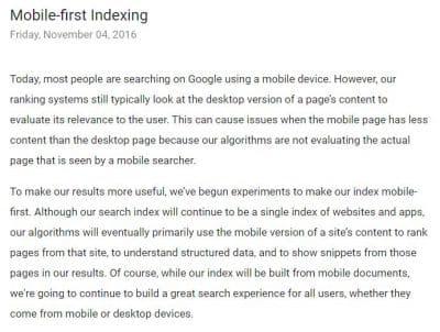 article google sur l'indexation mobile pour améliorer son seo