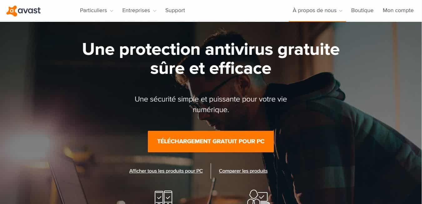 Page d'accueil Avast