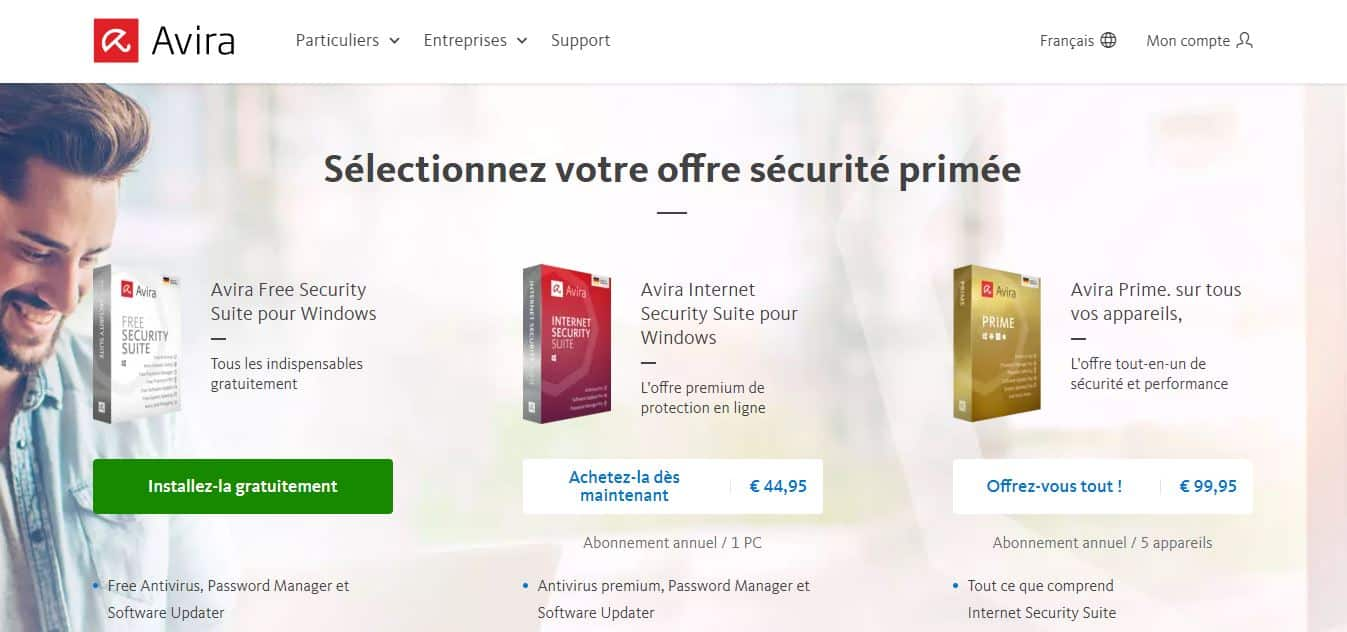 Page d'accueil Avira