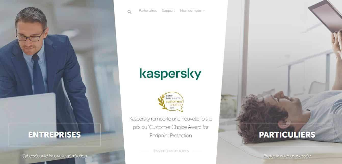 Page d'accueil Kaspersky