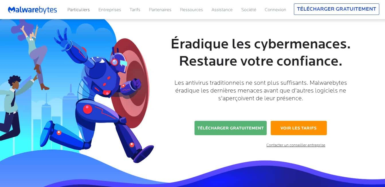 Page d'accueil Malwarebytes