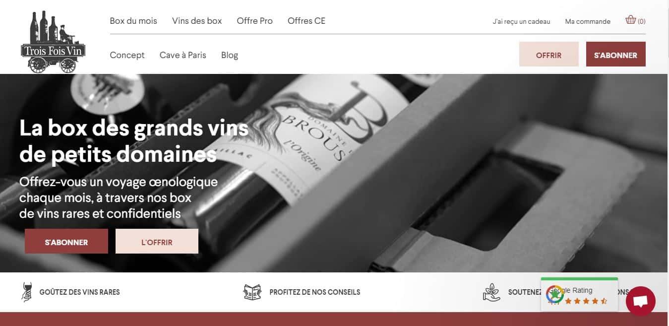 Page d'accueil Trois Fois Vin