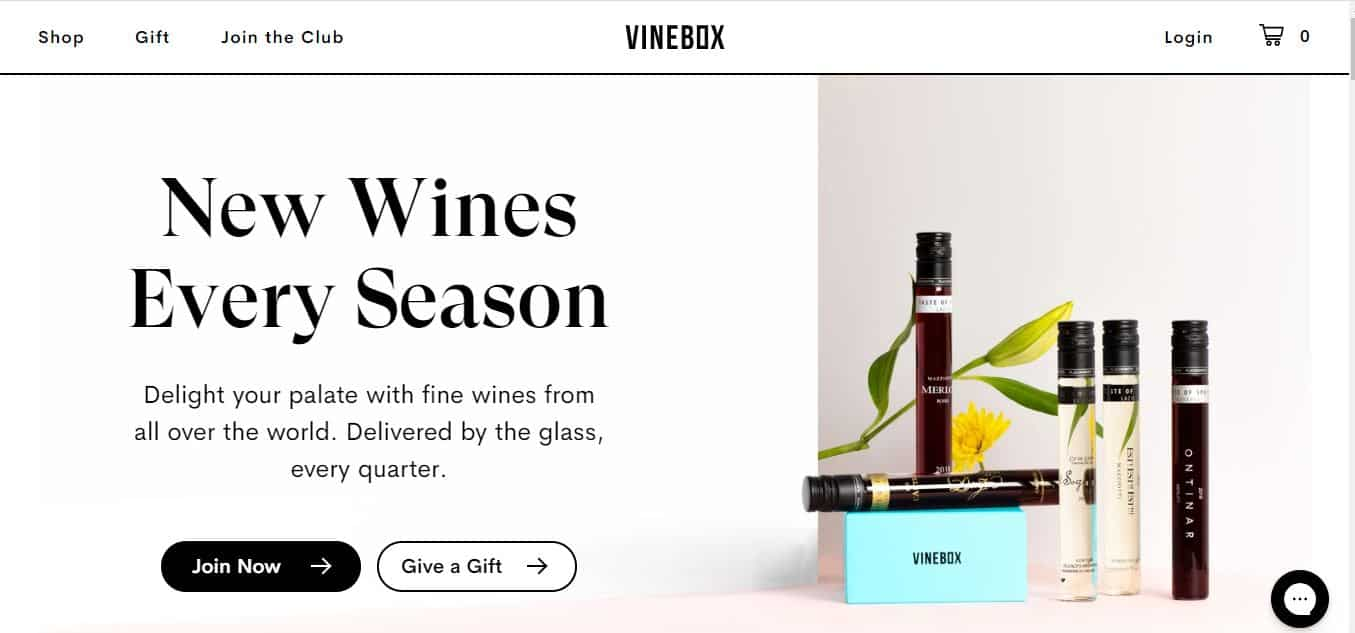 Page d'accueil Vinebox