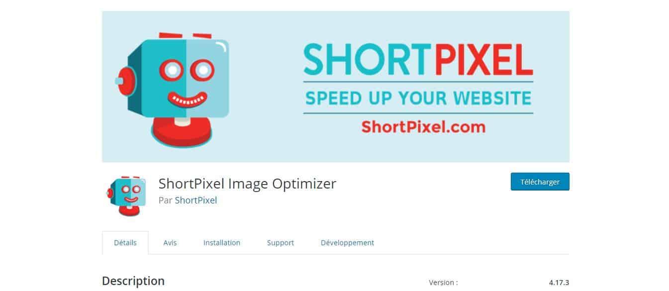 page de téléchargement shortpixel