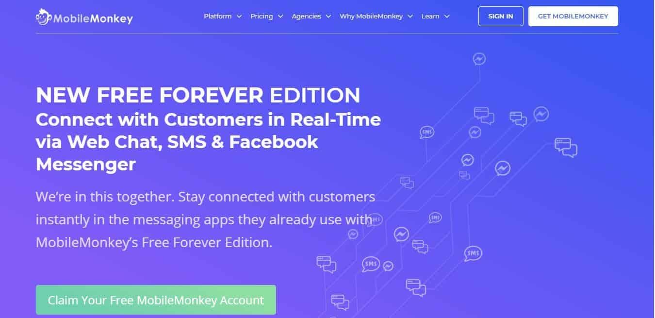 Page d'accueil MobileMonkey