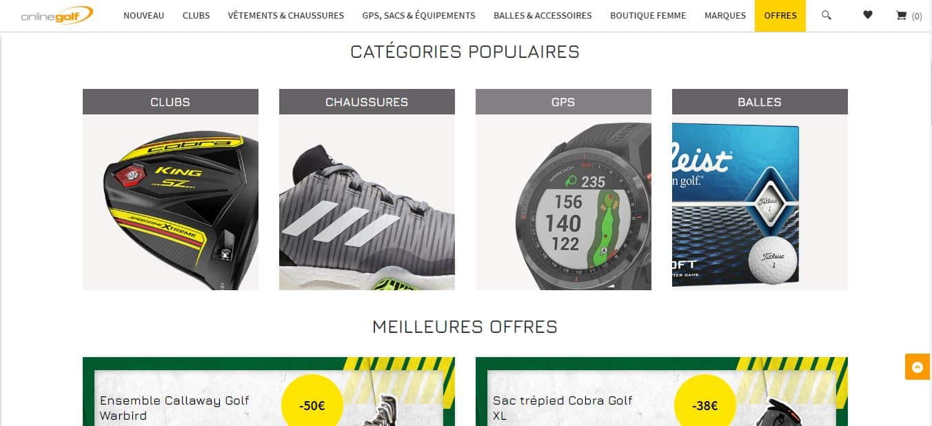 Page d'accueil OnlineGolf