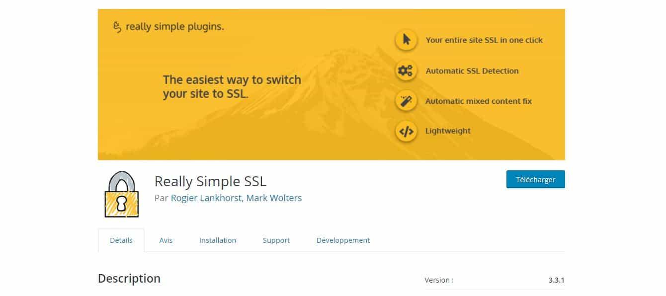 page de téléchargement really simple ssl