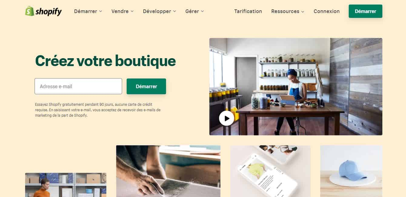 page d'accueil shopify