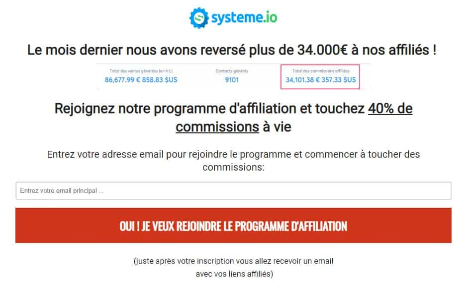 page d'affiliation systeme.io