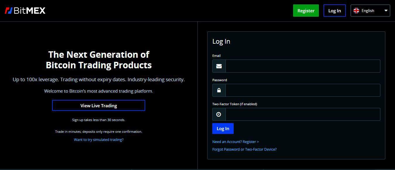Page d'accueil Bitmex