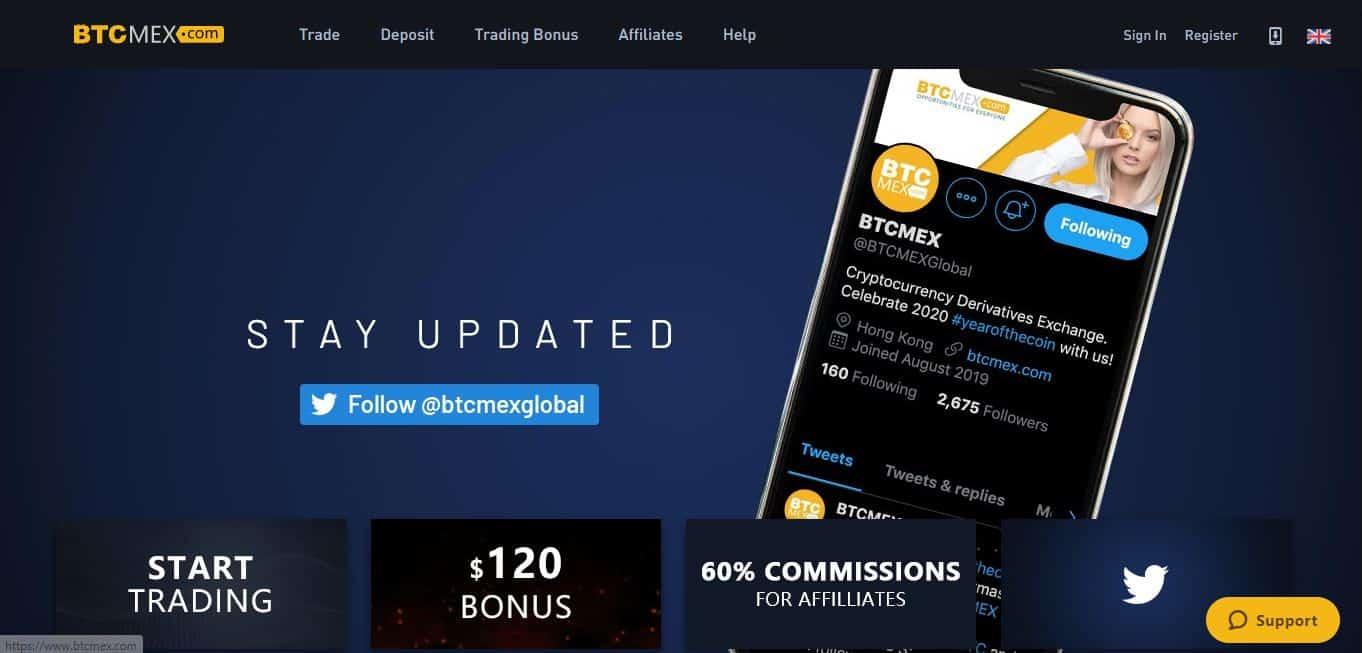 Page d'accueil Btcmex