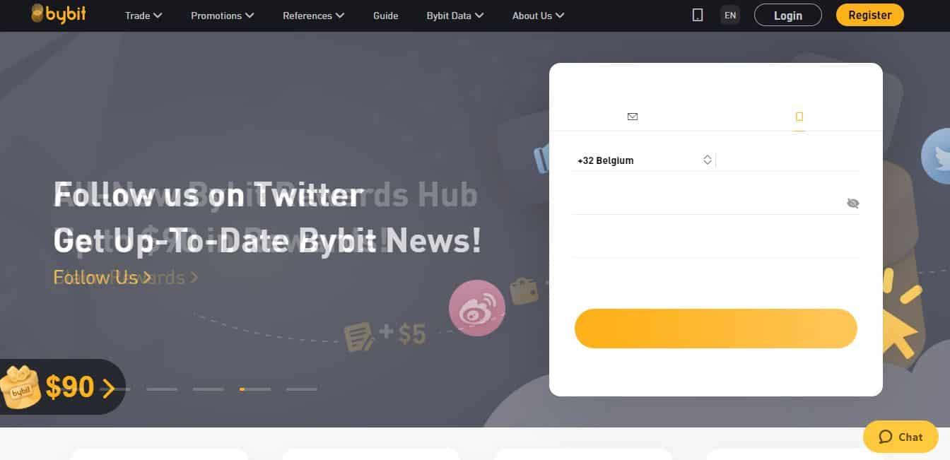 Page d'accueil Bybit