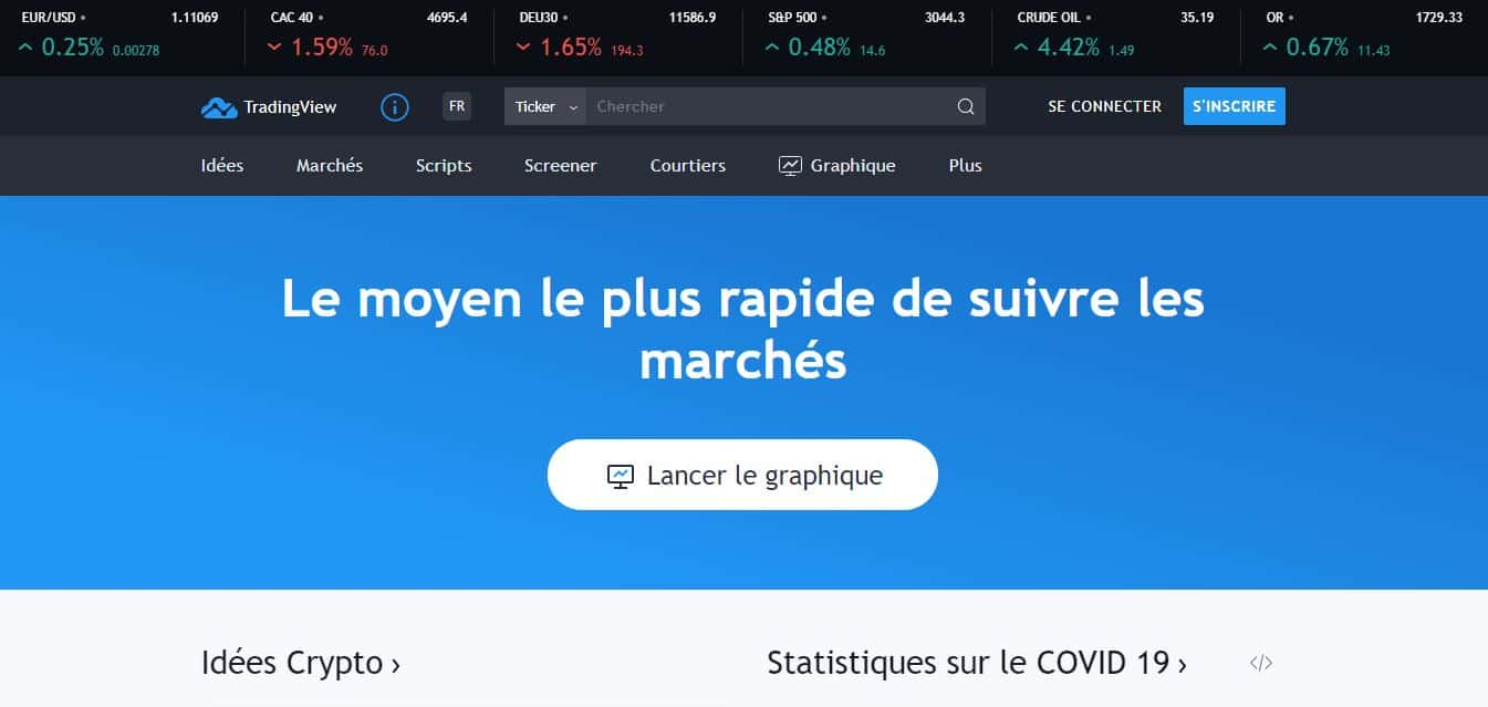 Page d'accueil tradingview