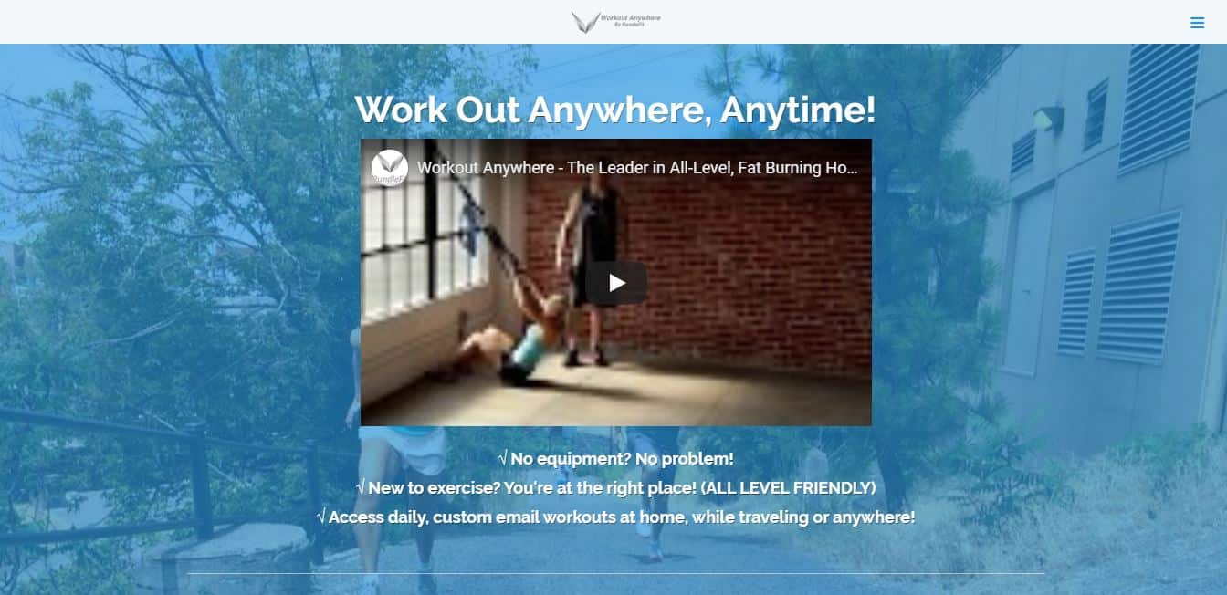 Page d'accueil Workoutanywhere