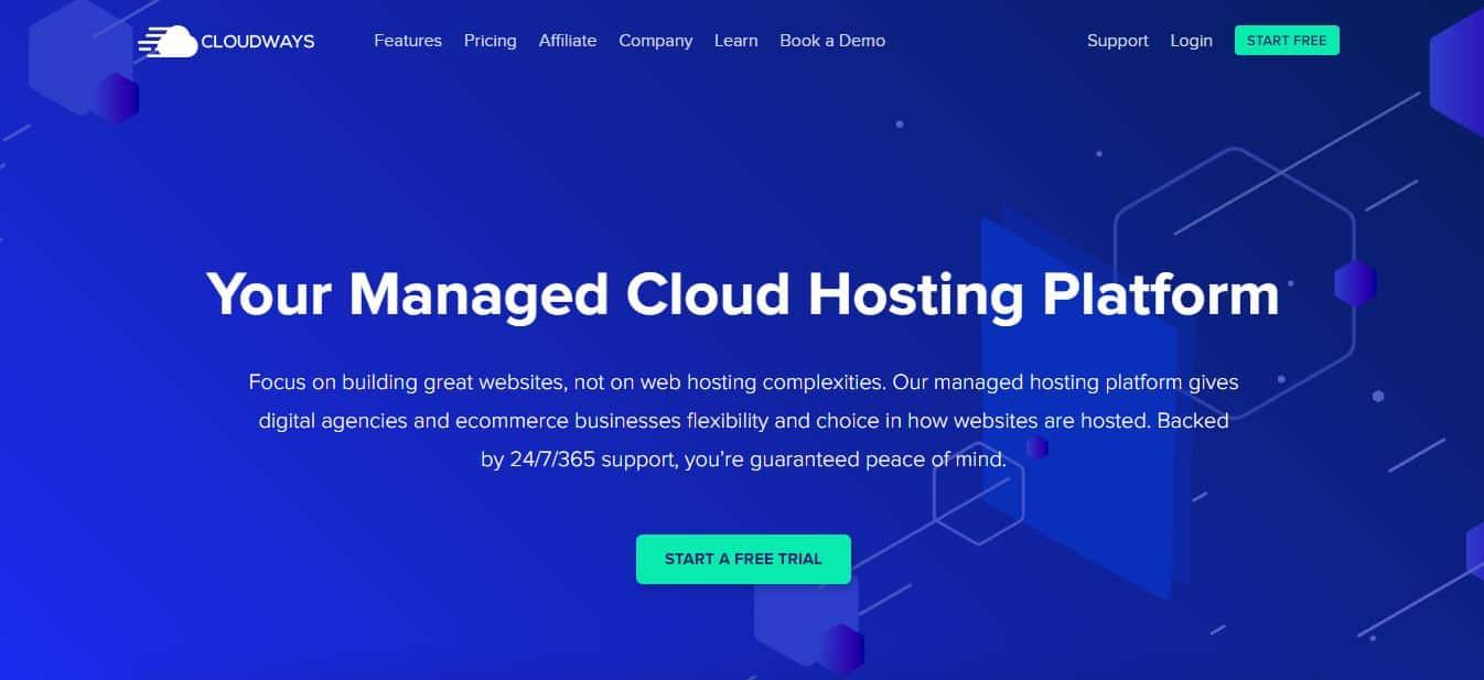 Page d'accueil Cloudways