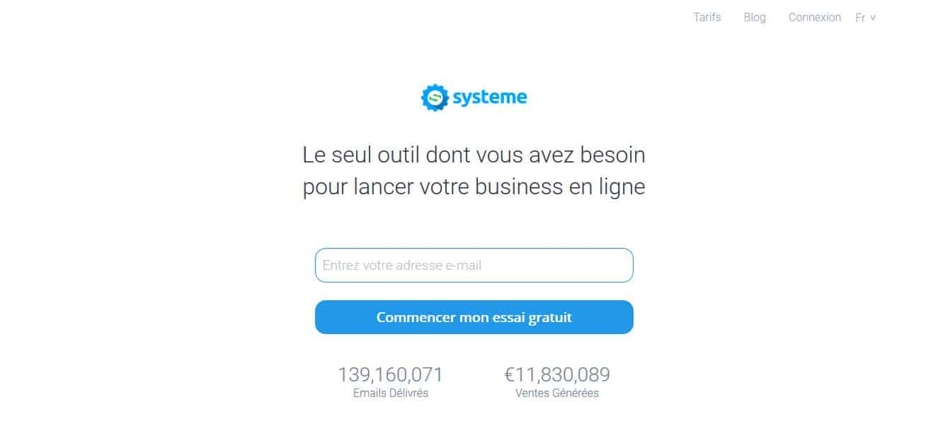 Page d'accueil systeme.io