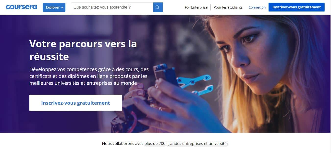 Page d'accueil Coursera