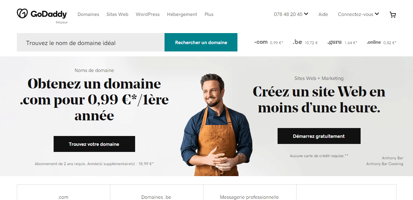 Page d'accueil Godaddy