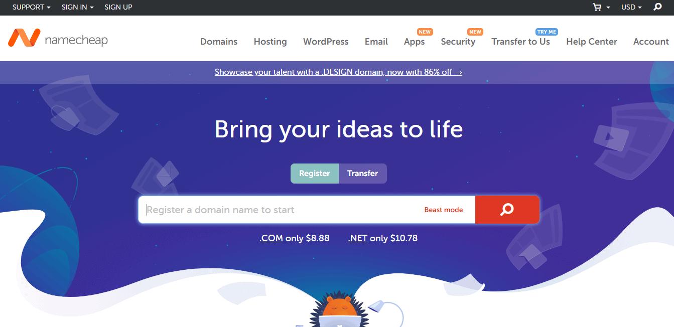 Page d'accueil namecheap