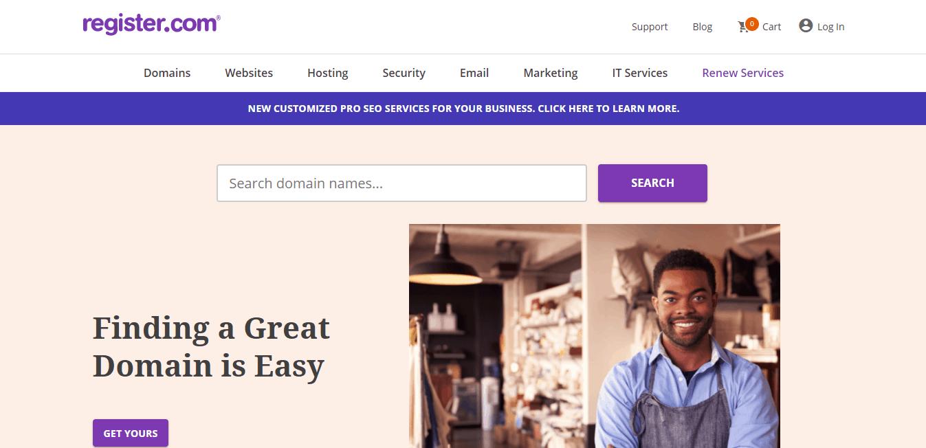 Page d'accueil register.com