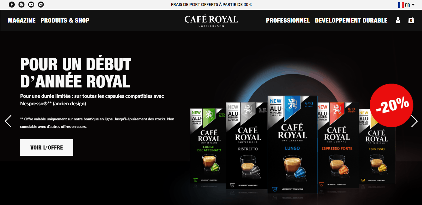 Page d'accueil Café Royal