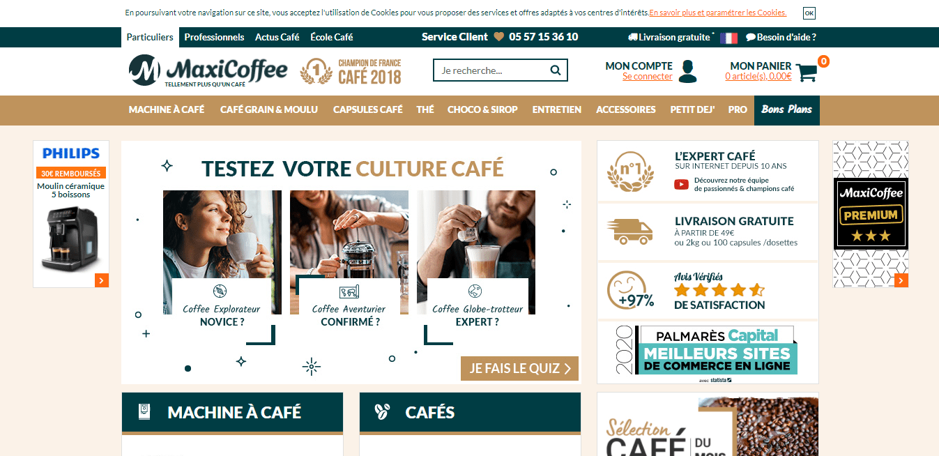 Page d'accueil Maxicoffee