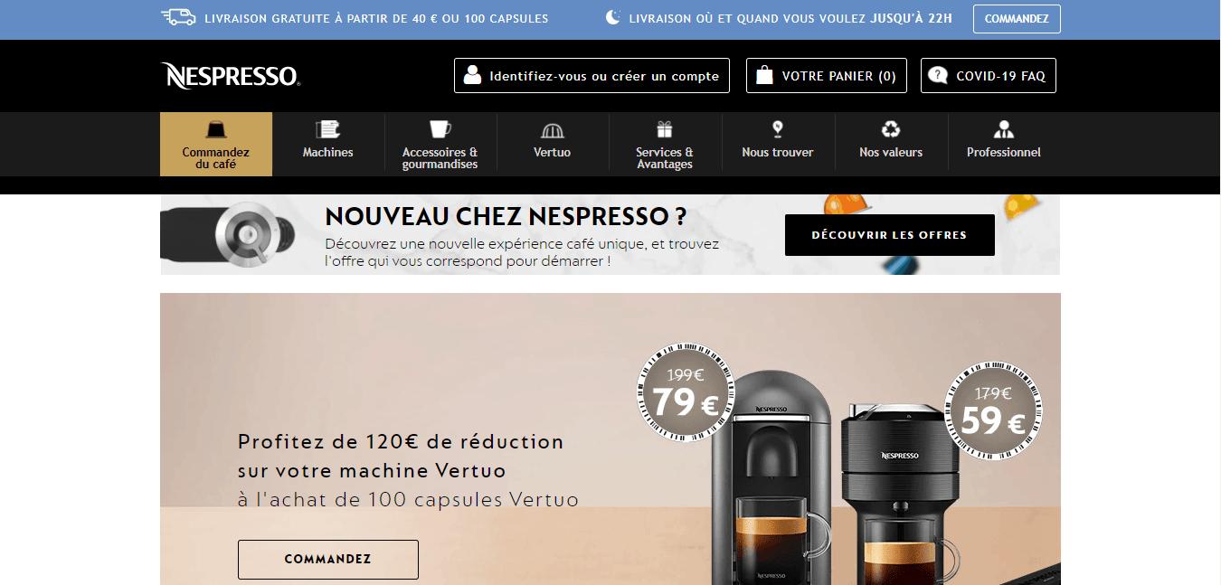 Page d'accueil Nespresso