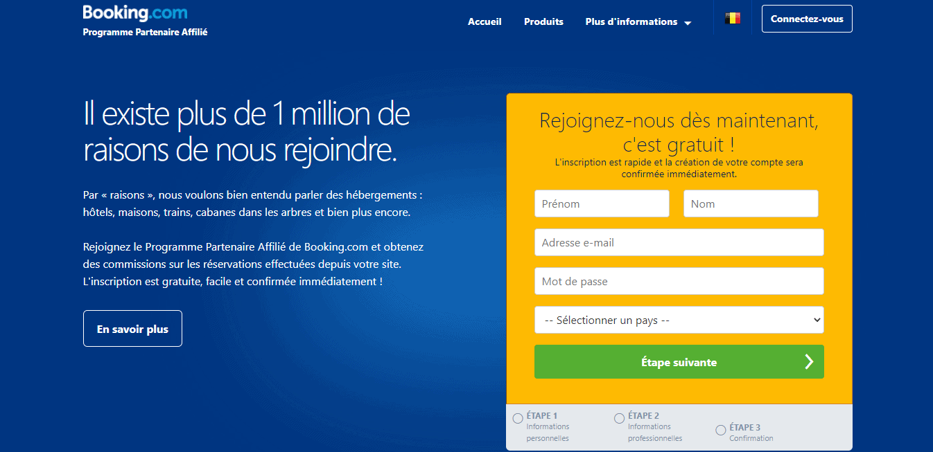 Page d'accueil Booking.com