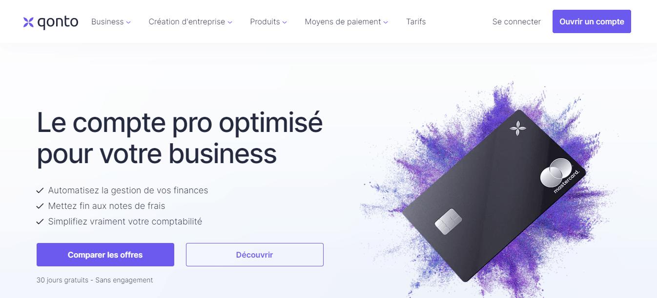page d'accueil Qonto