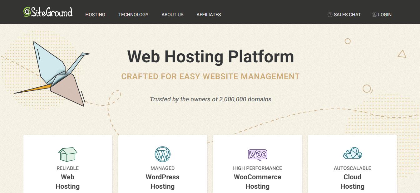 page d'accueil Siteground affiliation